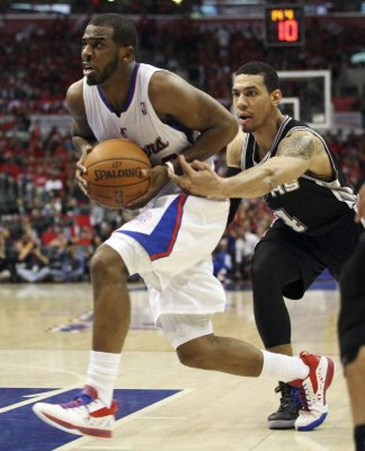 San Antonio Spurs' Danny Green (04) attempts to steal the ball from Los Angeles Clippers' Chris Paul (03) in the third quarter of game four of the Western Conference semifinals at Staples Center in Los Angeles, Sunday, May 20, 2012.  Jerry Lara/San Antonio Express-News (Jerry Lara / San Antonio Express-News)