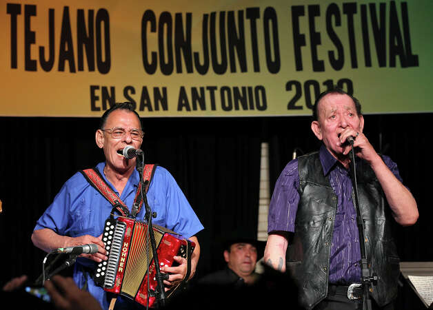 Santiago Jimenez Jr. and Flaco Jimenez reunited during the 31st annual Tejano Conjunto Festival in May. Photo: Express-News File Photo / © SAN ANTONIO EXPRESS-NEWS (NFS)