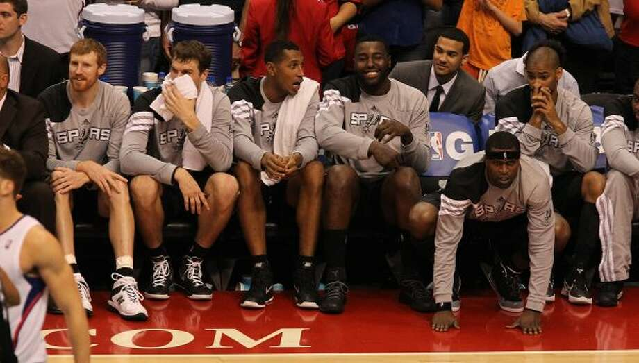 The Spurs bench show various emotions to end the game against the Los Angeles Clippers in the fourth quarter of game four of the Western Conference semifinals at the Staples Center in Los Angeles on Sunday, May 20, 2012. Spurs defeated the Clippers 102-99. Kin Man Hui/Express-News (SAN ANTONIO EXPRESS-NEWS)