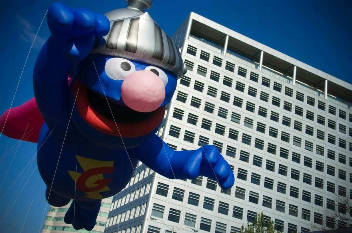 Super Grover fies down Atlantic St. during the UBS Parade Spectacular in Stamford, Conn. on Sunday, Nov. 22, 2009.