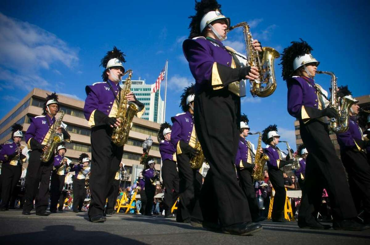 The Westhill High School marching band performs during the UBS Parade Spectacular in Stamford, Conn. on Sunday, Nov. 22, 2009.