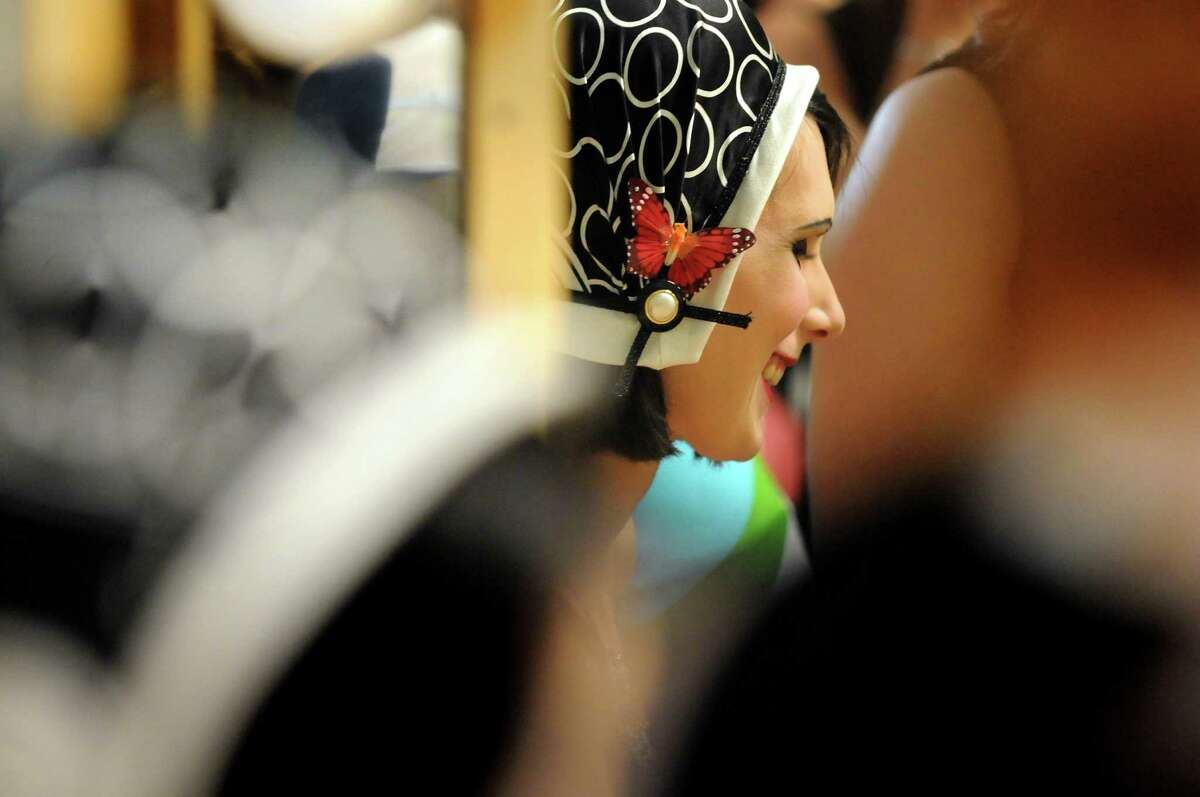 Model Theresa Nosek waits in the dressing room for the show to begin during the Electric City Couture on Friday, May 18, 2012, at the GE Theatre at Proctors in Schenectady, N.Y. (Cindy Schultz / Times Union)
