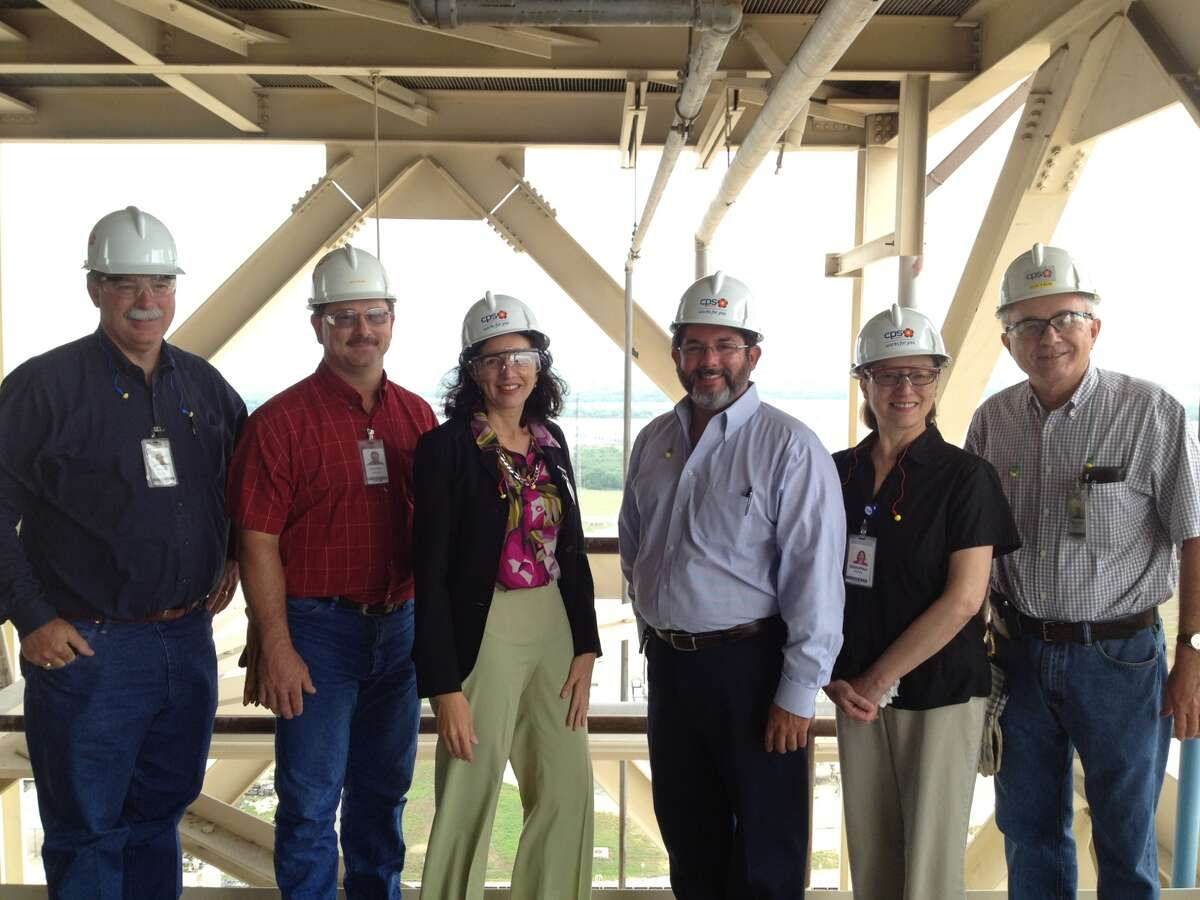 Pictured from the left are David Herbst (CPS Energy); Jeff Kruse (Spruce Power Plant); Leticia Ozuna; John Leal (CPS Energy); Debbie Gunn (CPS Energy); and Bill Gates (CPS Energy).