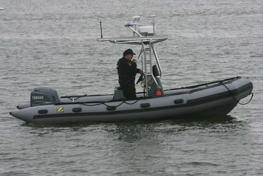 The Milford inflatable police rescue boat takes part in an interactive boating and kayaking safety demonstration in Stratford, Conn. on Monday, May 21, 2012. The Stratford Waterfront and Harbor Management Commission held the event in recognition of National Boating Week. Photo: B.K. Angeletti / Connecticut Post