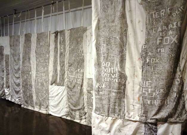 "Katie Pell's ""Woods,"" tree rubbings made on cloth, are part of ""New Works Now."" Photo: Steve Bennett, San Antonio Express-News"