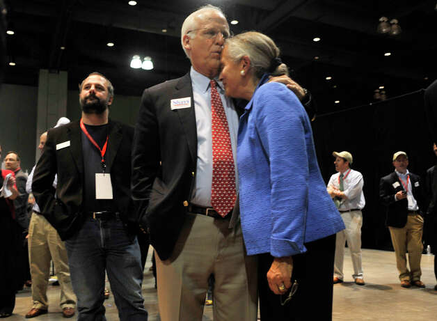 U.S. Senate candidate Chris Shays kisses the forehead of his wife, Betsi Shays, during the state Republican convention at the Connecticut Convention Center in Hartford, Conn., on Friday, May 18, 2012. The former Connecticut congressman submitted his certificate of eligibility for the Aug. 14 primary on Monday, May 21, 2012 in Hartford, according to the secretary of the stateâÄôs office. Photo: Jason Rearick / The News-Times