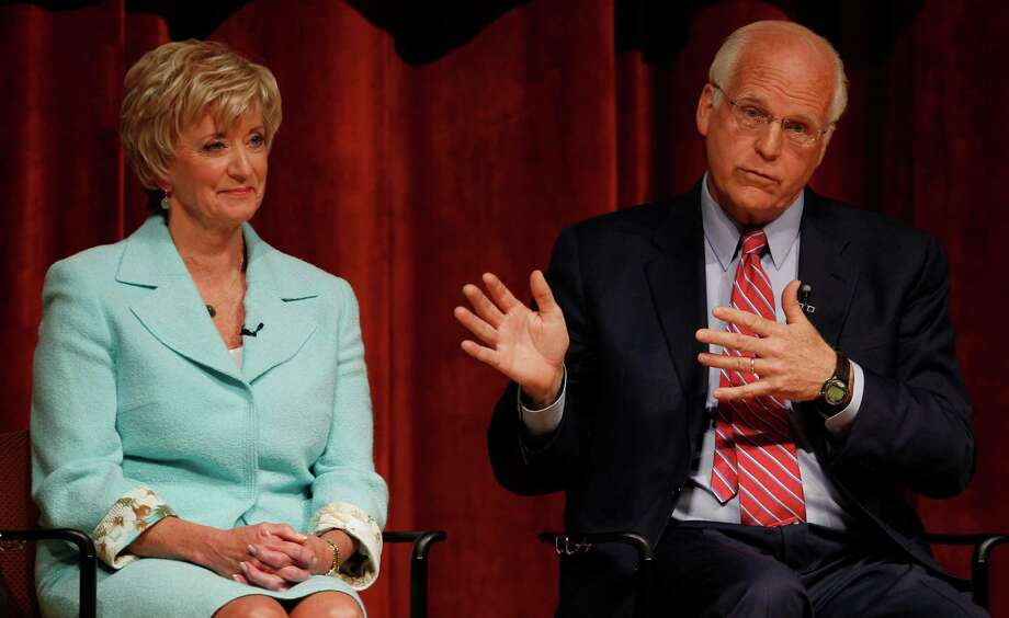 Former U.S. Rep Christopher Shays, R-Conn., right, gestures while seated next to 2010 U.S. Senate nominee Linda McMahon, during a debate for the seat being vacated by U.S Sen. Joe Lieberman, I-Conn., in Norwich, Conn., Thursday, April 19, 2012. (AP Photo/Charles Krupa) Photo: Charles Krupa, Associated Press / AP