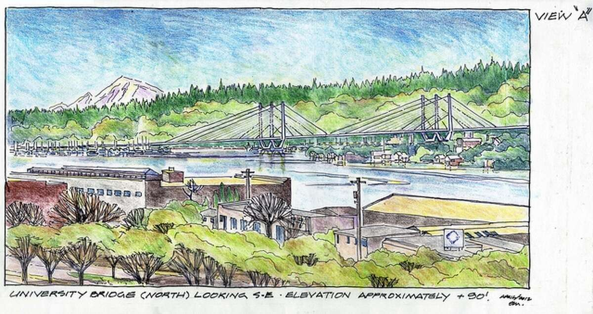 Conceptual drawing of a cable-stayed bridge over Portage Bay, as viewed from the University Bridge.