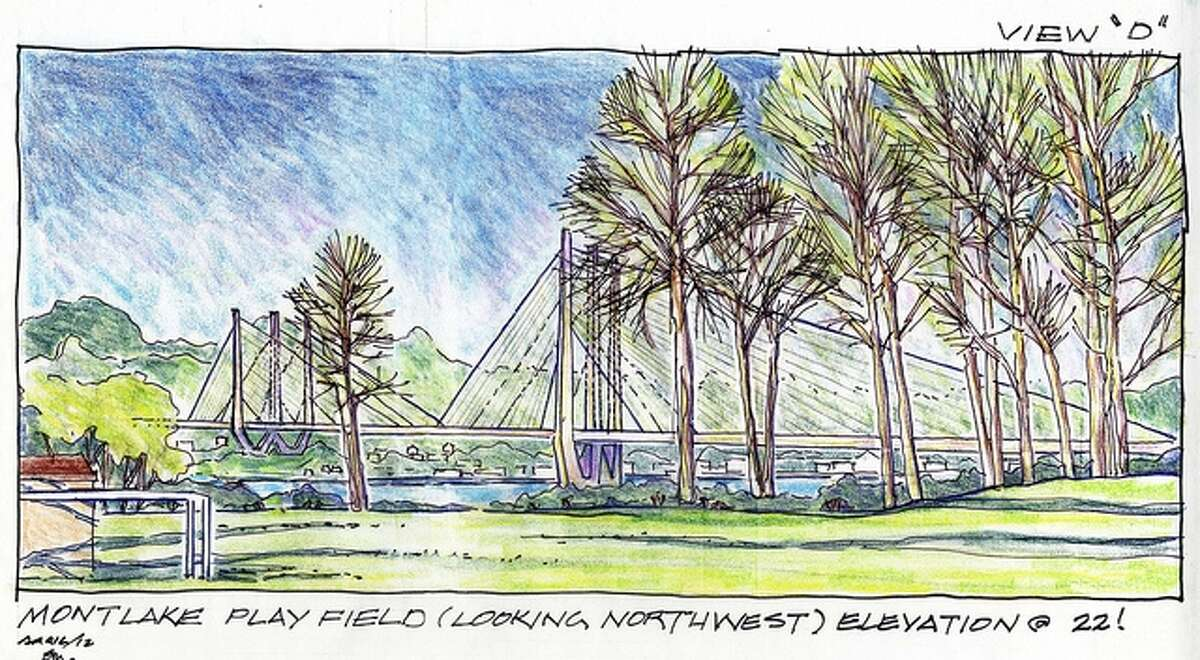 Conceptual drawing of the view from Montlake Playfield .