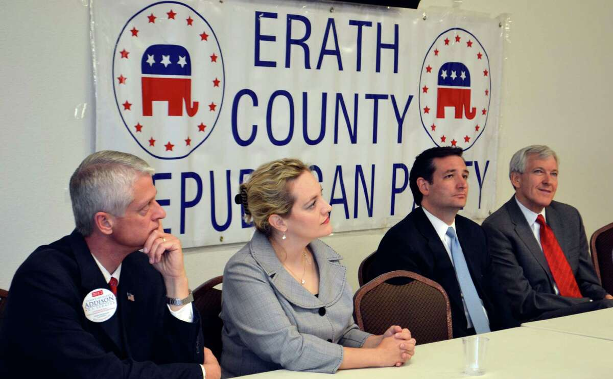 Four candidates in the running for the nomination in the Texas Republican primary for the U.S. Senate spoke at a forum hosted by the Erath County Republican Party Monday. Pictured left to right are Glenn Addison of Magnolia, Lela Pittenger of Driftwood, Ted Cruz of Houston and Tom Leppert of Dallas addressed the lunchtime crowd.