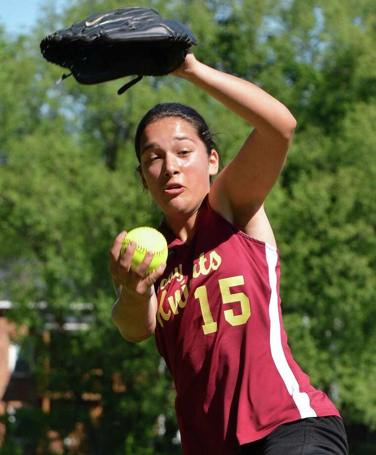 Bishop Gibbons pitcher Joelle Salisbury pitches against Albany High in Saturday's softball game in Schenectady May 19, 2012.   (John Carl D'Annibale / Times Union) Photo: John Carl D'Annibale / 00017719A