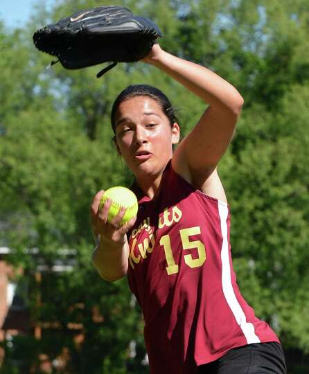 Bishop Gibbons pitcher Joelle Salisbury pitches against Albany High in Saturday's softball game in S