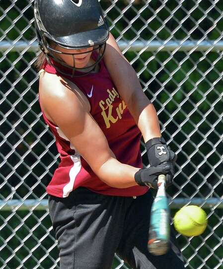 Bishop Gibbons' Joelle Salisbury gets a hit in Saturday's game with Albany High in Schenectady May 1