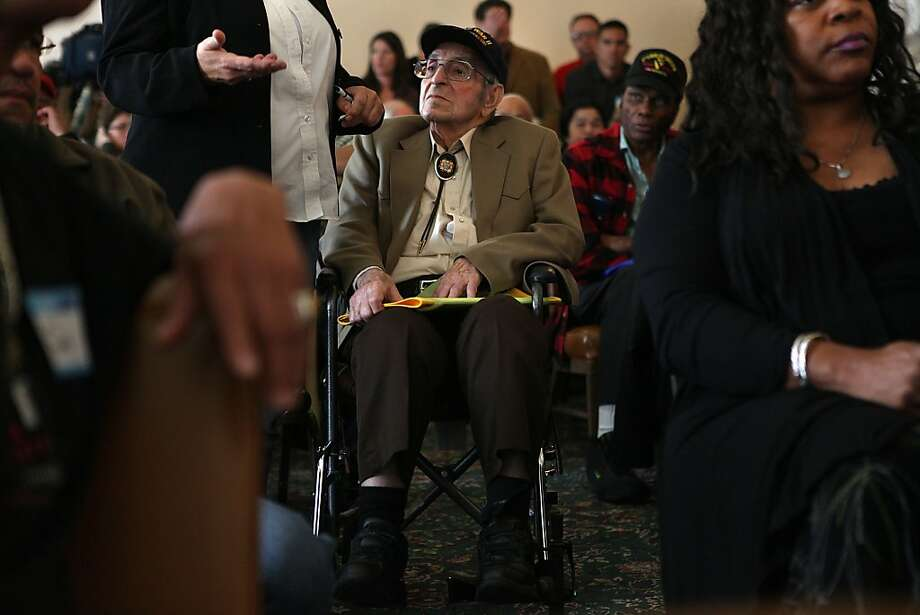 "World War II veteran Jake Ventrello (right), 93 years old, from San Francisco, listens as a friend  talks about his hardship at the War Memorial Building in San Francisco, California, on Monday, May 21, 2012.  U.S. Rep. Jackie Speier and congresswoman Barbara Lee asked veterans with backlogged disability claims at the Department of Veterans Affairs in Oakland to join her at a ""fix-it meeting"". Photo: Liz Hafalia, The Chronicle"