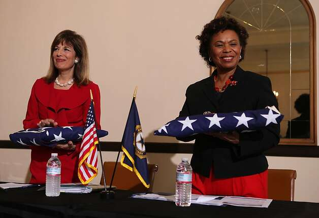 "U.S. Rep. Jackie Speier (left) and congresswoman Barbara Lee (right)were honored with flags at the War Memorial Building in San Francisco, California, on Monday, May 21, 2012. They  asked veterans with backlogged disability claims at the Department of Veterans Affairs in Oakland to join them at a ""fix-it meeting"". Photo: Liz Hafalia, The Chronicle"