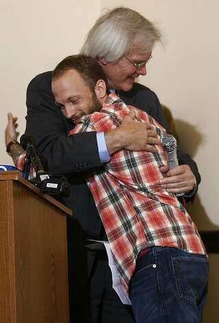 "Veteran Ari Sonnenberg hugging Richard Steffen after talking about getting help from U.S. Rep. Jackie Speier expediting his claim at the War Memorial Building in San Francisco, California, on Monday, May 21, 2012.  He claimed his file back in 2008.   U.S. Rep. Jackie Speier and congresswoman Barbara Lee asked veterans with backlogged disability claims at the Department of Veterans Affairs in Oakland to join her at a ""fix-it meeting"". Photo: Liz Hafalia, The Chronicle"