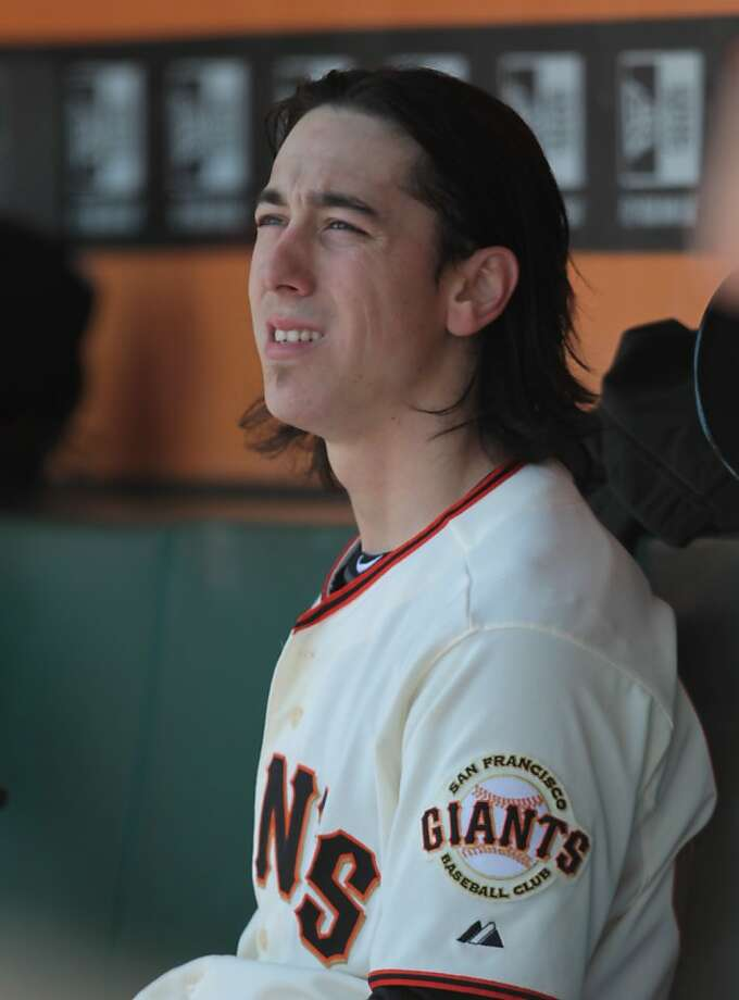 Giants' pitcher Tim Lincecum sits in the dugout between innings during a game against the A's in San Franicsco, on Sunday, May 20, 2012. Photo: Mathew Sumner, Special To The Chronicle