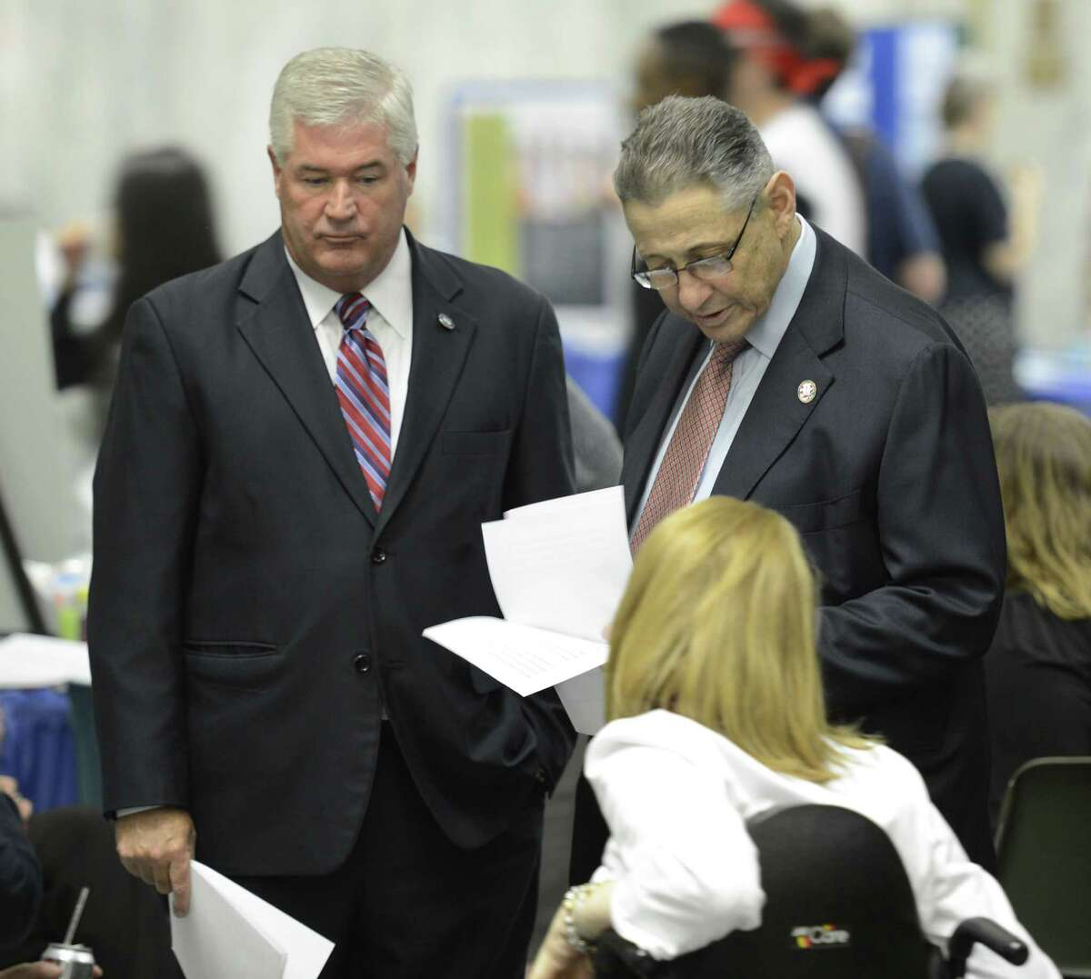 New York State Assembly Minority Leader Brian M. Kolb (R,I,C-Canandaigua), left joins Assembly Speaker Shelly Silver at the New York State Disabilities Awareness Day gathering in Albany, N.Y. May 21, 2012. (Skip Dickstein / Times Union)