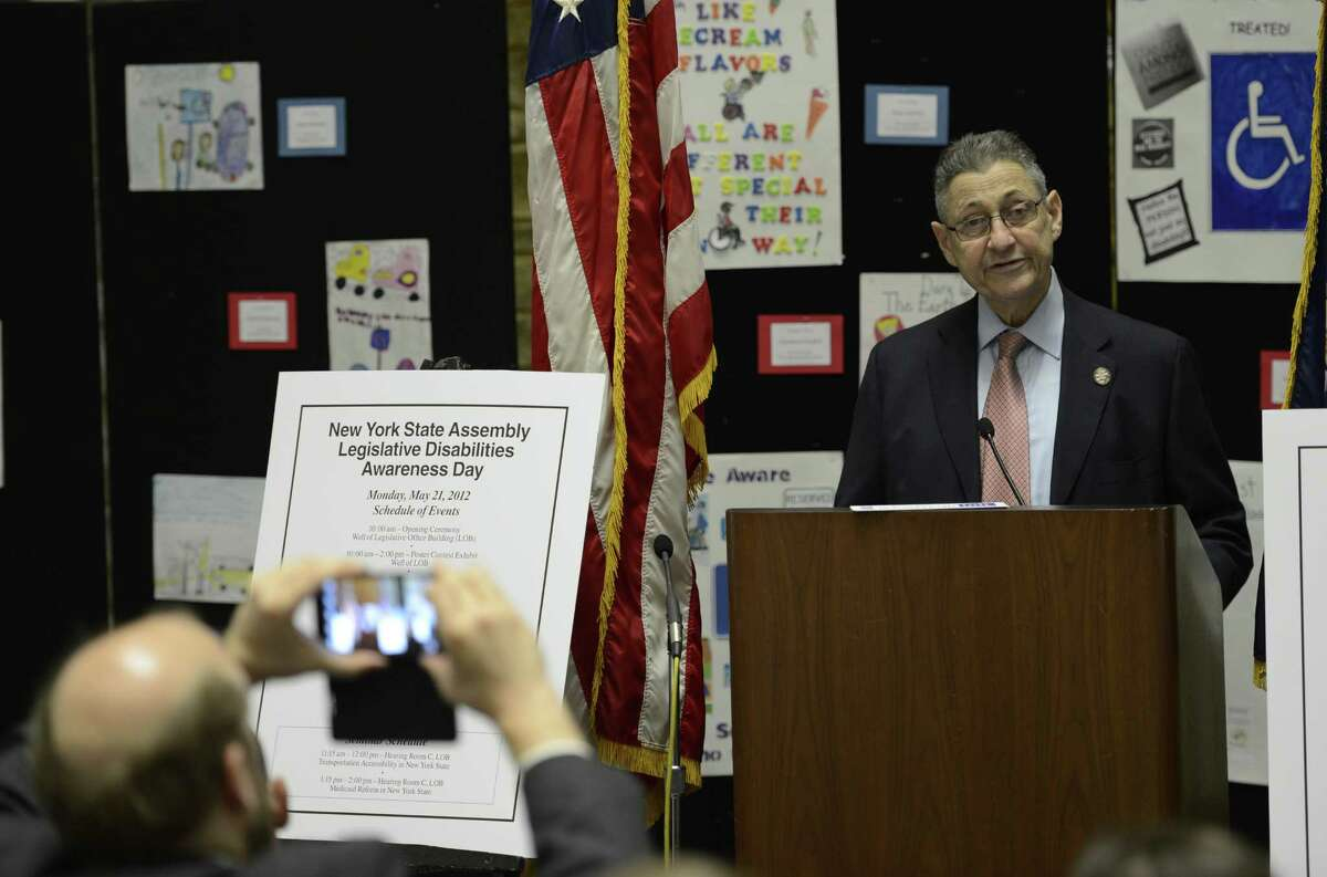 New York State Assembly Speaker Shelly Silver addresses the New York State Disabilities Awareness Day gathering in Albany, N.Y. May 21, 2012. (Skip Dickstein / Times Union)