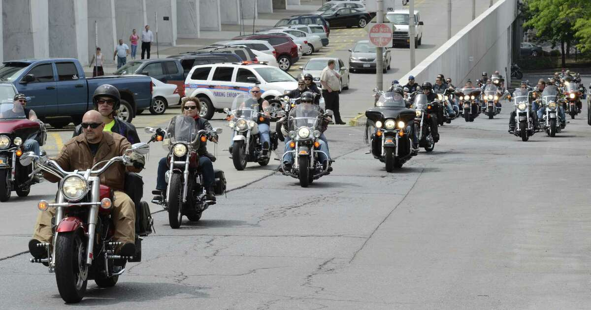 Approximately 250 anti-helmet Law demonstrators descended on the State Capitol in Albany, N.Y. today May 21, 2012. (Skip Dickstein / Times Union)