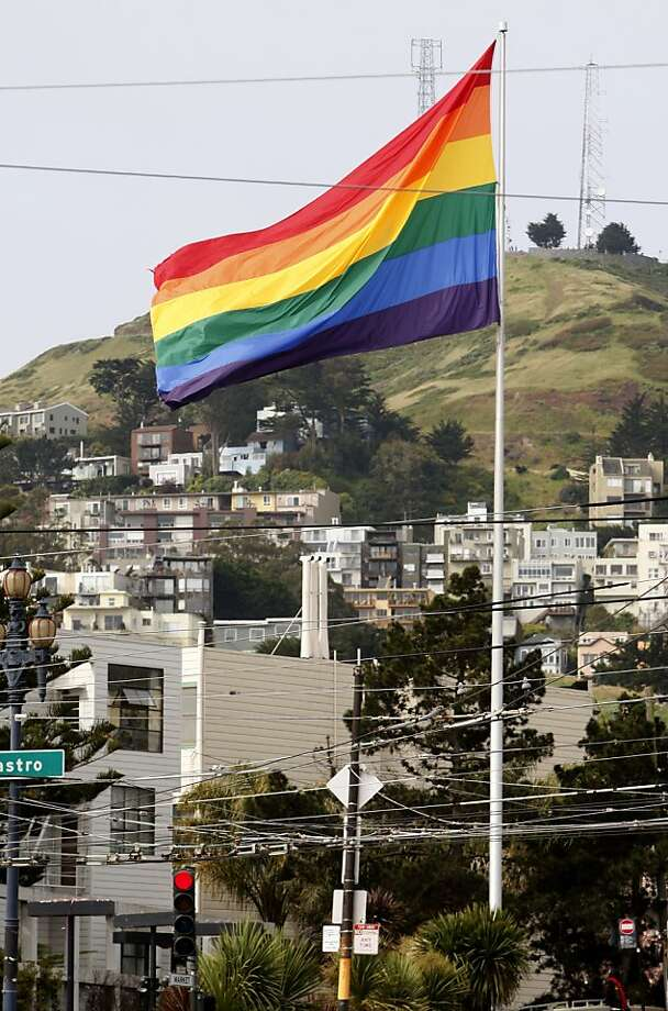 The gay pride rainbow flag flies at Market and Castro streets in San Francisco, Calif. on Saturday, April 23, 2011. Activist Michael Petrelis is urging community leaders to fly the stars and stripes on Harvey Milk Day but is meeting resistance to his idea. Photo: Paul Chinn, The Chronicle