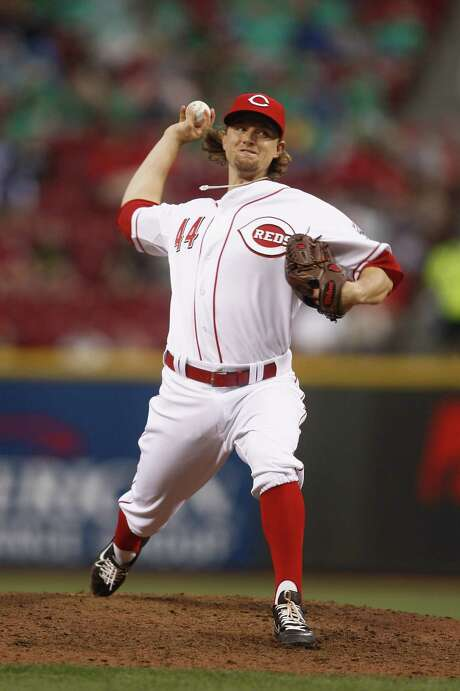 Mike Leake did a little bit of everything in the Reds' 4-1 victory over the Brewers on Monday, homering and allowing two hits in eight innings. Photo: John Grieshop / 2012 Getty Images