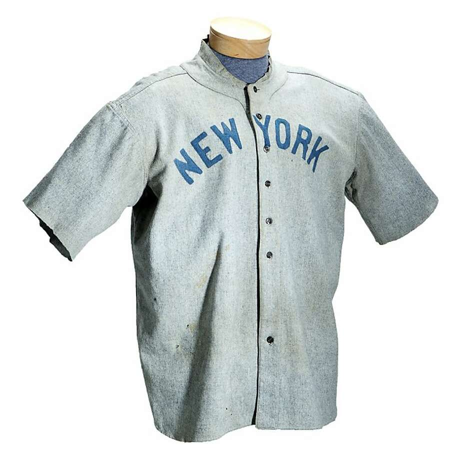 This undated photo provided by SCP Auctions shows a circa 1920 New York Yankees baseball jersey worn by Babe Ruth that sold for more than $4.4 million at auction, Sunday, May 20, 2012. SCP Auctions says the uniform top is the earliest known jersey worn by Ruth and set a record for any item of sports memorabilia. (AP Photo/SCP Auctions) Photo: Associated Press
