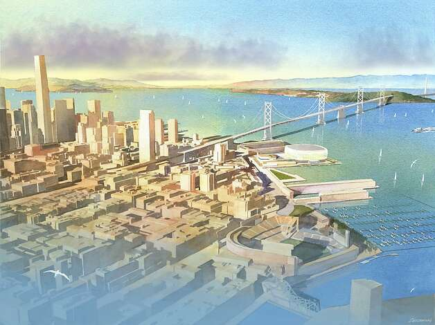 Renderings of the Warriors stadium at piers 30-32. Concept by Future Cities. Southern aerial view. Photo: Art Zendarski, Future Cities / SF