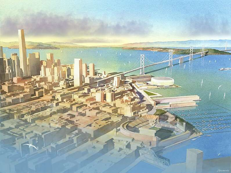 Renderings of the Warriors stadium at piers 30-32. Concept by Future Cities. Southern aerial view.