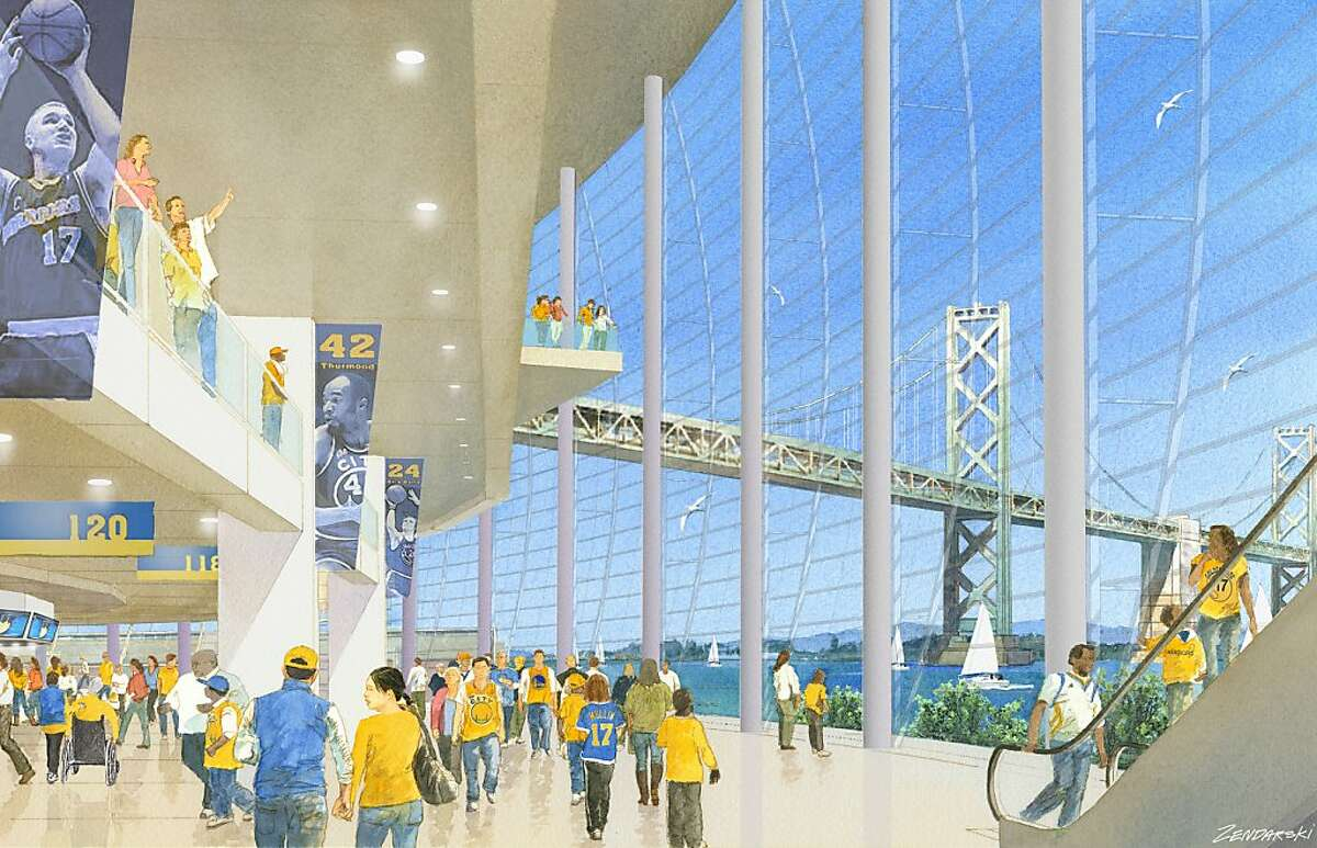 Renderings of the Warriors stadium at piers 30-32. Concept by Future Cities. View of concourse.