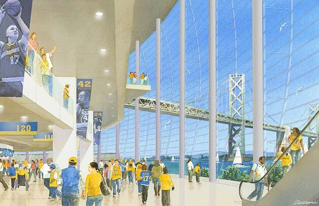 Renderings of the Warriors stadium at piers 30-32. Concept by Future Cities. View of concourse. Photo: Art Zendarski, Future Cities