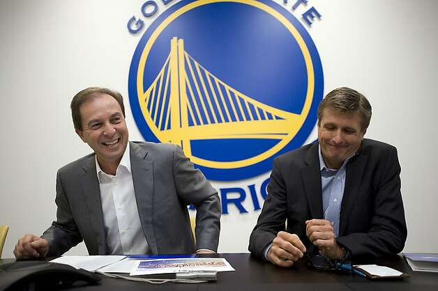 Owner Joe Lacob(L) and team President and CEO Rick Welts announced that the Golden State Warriors are officially moving to San Francisco.  The team will be housed in a new facility on piers 30-32 on the Embarcadero.  Oakland, CA on Monday May 21st, 2012 Photo: Michael Short, Special To The Chronicle