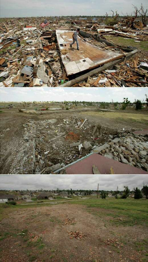 This three-photo combo shows a scene taken on May 28, 2011, top, July 21, 2011, center, and May 7, 2012, bottom, showing progress made in Joplin, Mo. in the year after an EF-5 tornado destroyed a large swath of the city and killed 161 people. In the top photo, Patrick O'Banion salvages items from his devastated home in a neighborhood now mostly cleared of debris. (AP Photo/Charlie Riedel) Photo: Charlie Riedel, STF / AP