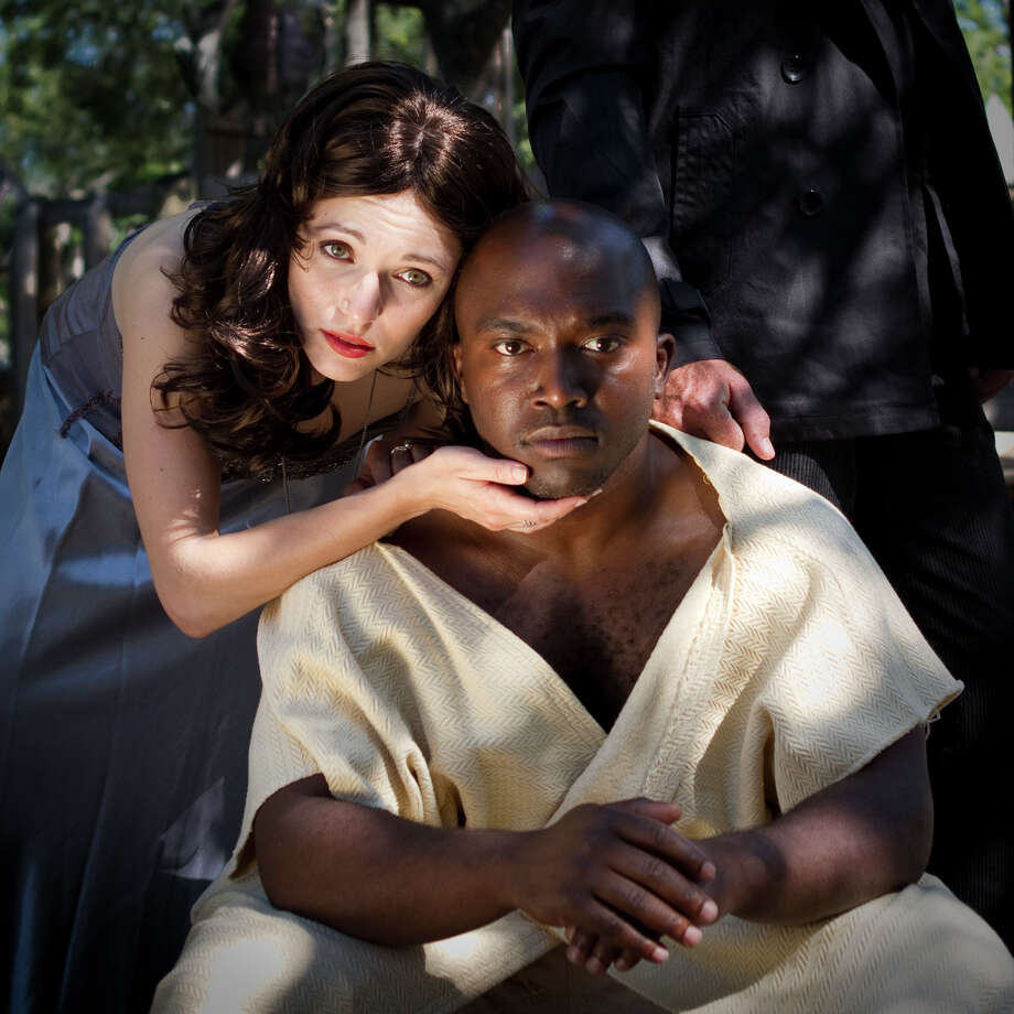 "Kat Connor (from left) and James ""Apollo"" Bradley appear in the Shakespeare in the Park staging of ""Othello."" Courtesy David Frank"