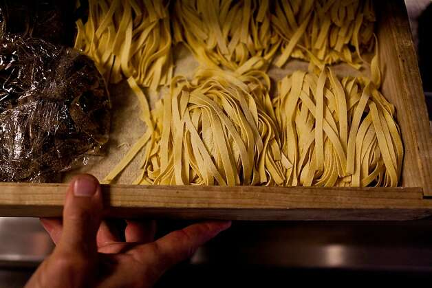 Head chef Gianni Audieri shows off some of the handmade pasta at Fior D'Italia restaurant in San Francisco, Calif., May 21, 2012.Jason Henry/Special to The Chronicle Photo: Jason Henry, Special To The Chronicle