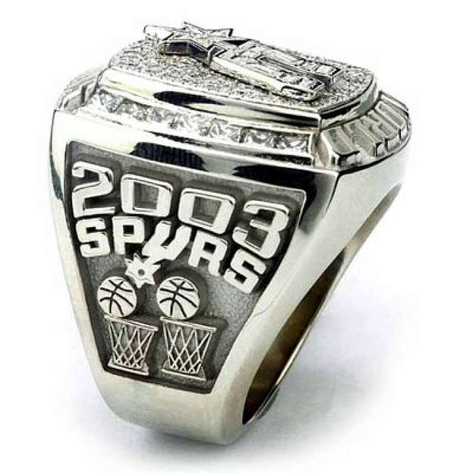 This is an undated handout photo of the Spurs' 2003 world championship ring. (SAN ANTONIO EXPRESS-NEWS)