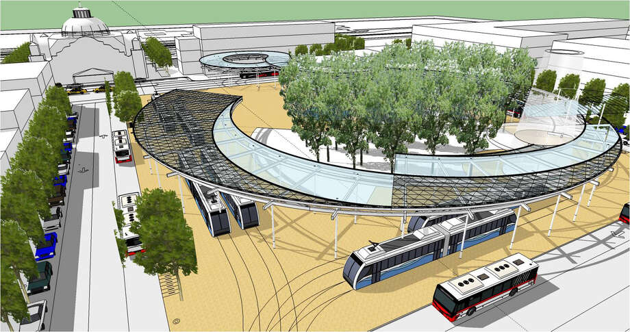 An artist's rendering of VIA Metropolitan Transit's West Side Multimodal Center shows a covered outdoor waiting area curving around a central open-air plaza. Photo: Courtesy Illustration