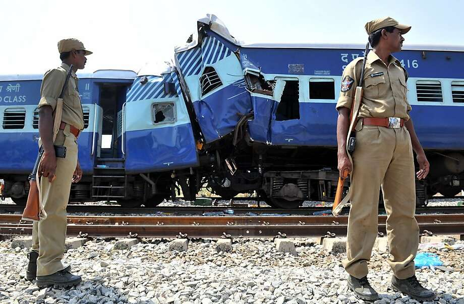 Deadly rail crash: At least 19 people were killed and 36 injured when the Bangalore-bound Hampi Express collided with a stationary freight train near Penneconda in southern India. Photo: Manjunath Kiran, AFP/Getty Images