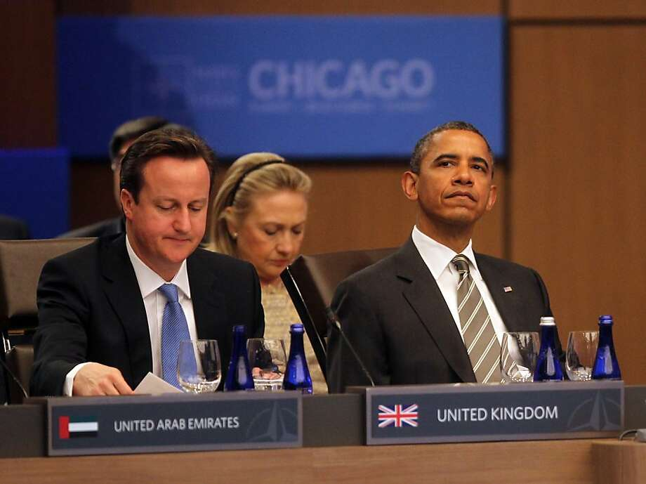 United Kingdom Prime Minister David Cameron and President Barack Obama  meet with NATO counterparts and other members who comprise the International Security Assistance Force in Afghanistan, Monday, May 21, 2012, in Chicago, Illinois. (Keri Wiginton/Chicago Tribune/MCT) Photo: Keri Wiginton, McClatchy-Tribune News Service