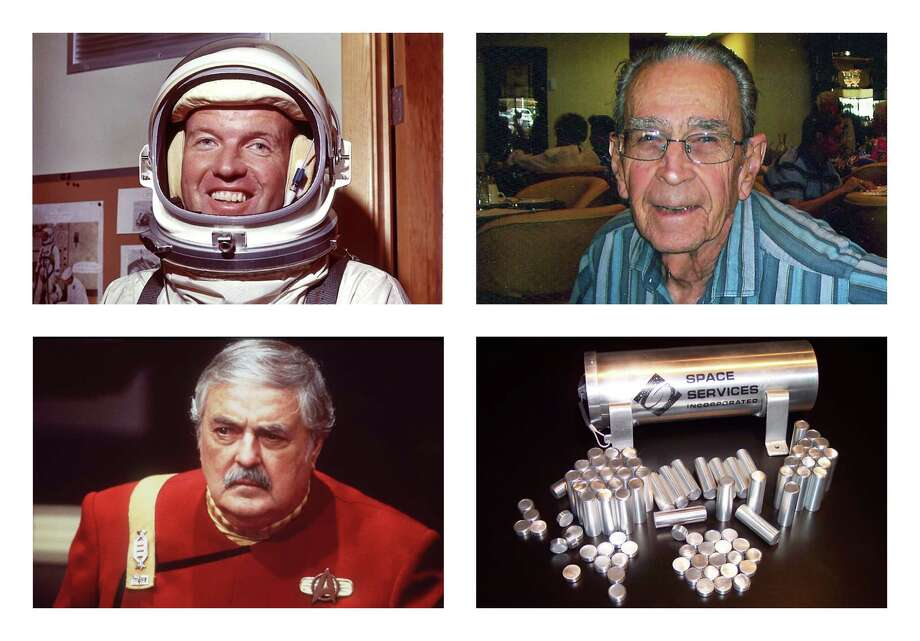 This combination of photos shows astronaut Gordon Cooper, top left; Bob Shrake, an engineer who designed spaceship control instruments for NASA?s Jet Propulsion Lab, top right; actor James Doohan, bottom left; and capsules from Space Services Inc. These three men who made space their lives are also making space their final resting place. Their ashes - and hundreds of others? - in capsules from Space Services Inc. were aboard the Falcon 9 rocket that blasted into orbit Tuesday, May 19, 2012 as part of an in-space burial business. (AP Photo/NASA, Shrake Family, Paramount Pictures, Space Services Inc.) / NASA, Shrake Family, Paramount P