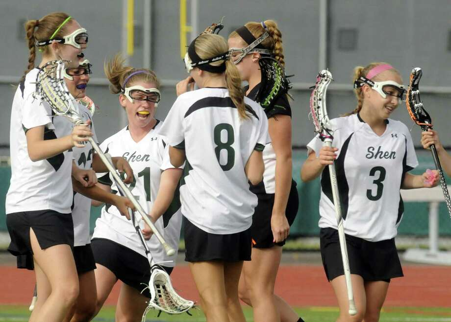 Shenendehowa's teammates celebrate after scoring a goal during their girls lacrosse Class A semifinal against Bethlehem in Clifton Park N.Y. Tuesday May 22, 2012. (Michael P. Farrell/Times Union) Photo: Michael P. Farrell