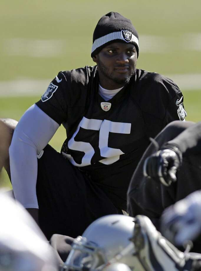 Oakland Raiders linebacker Rolando McClain goes through drills during NFL football practice in Alameda, Calif., Tuesday, May 22, 2012. (AP Photo/Marcio Jose Sanchez) Photo: Marcio Jose Sanchez, Associated Press
