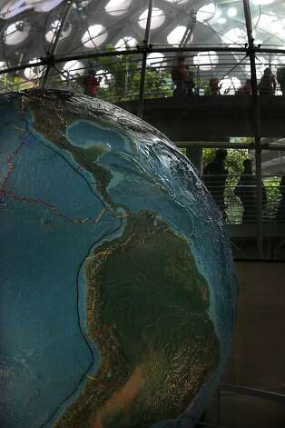 A rotating globe with interactive anecdotes will be part of the earthquake exhibit at California Academy of Sciences in San Francisco, California, on Thursday, May 17, 2012. Photo: Liz Hafalia, The Chronicle