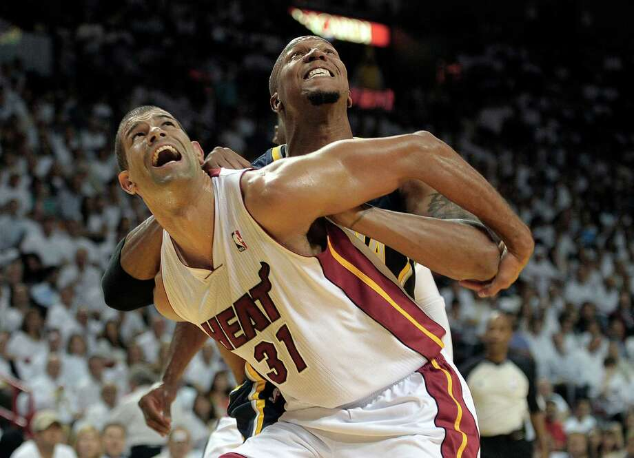 The Heat's Shane Battier (31) receives a shove from the Pacers' David West as the series took a rough turn in Game 5 on Tuesday night. Photo: Michael Laughlin / Sun Sentinel