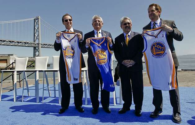 Golden State Warriors basketball team owner, Joe Lacob, far left, NBA Commissioner David Stern, San Francisco Mayor Ed Lee  and Warriors executive Peter Guber, as they officially announce plans, on Tuesday May 22, 2012, in San Francisco,Ca., to build a new arena on Piers 30 and 32 in time for the start of the 2017-2018 NBA season. Photo: Michael Macor, The Chronicle