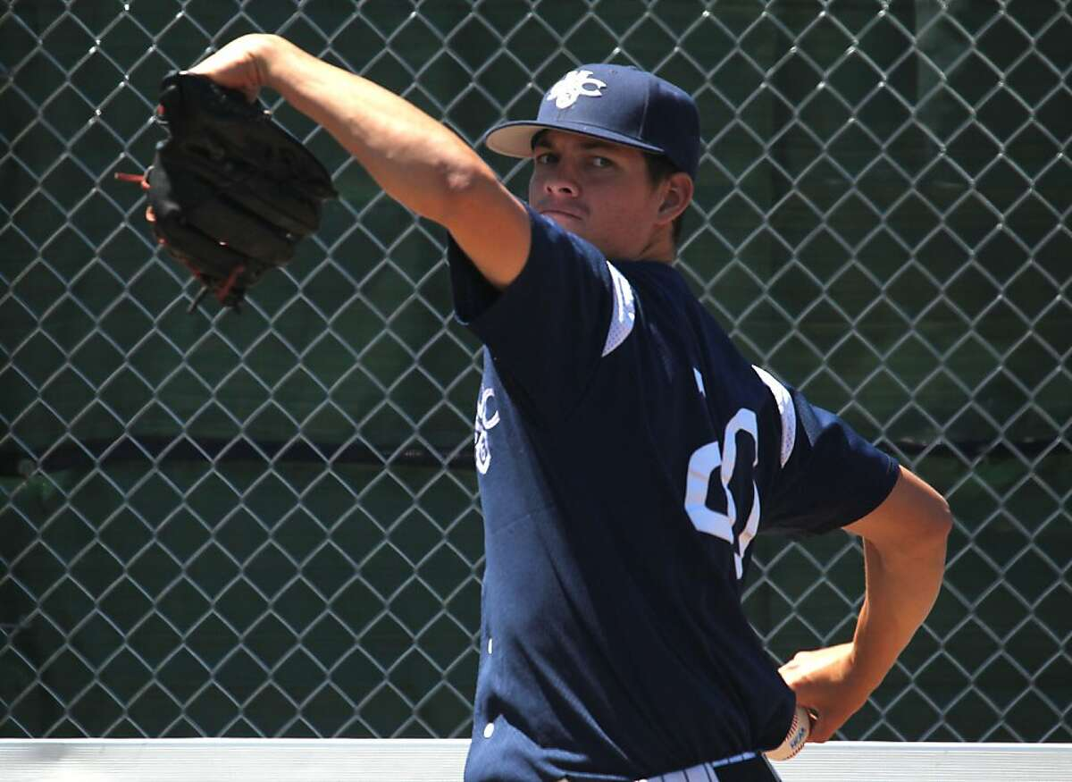 Martin Agosta ace pitcher for St. Mary's College, stands (6-1, 178) but he's 9-2 with a 2.27 ERA. Tuesday, May 22, 2012 in Moraga Calif.