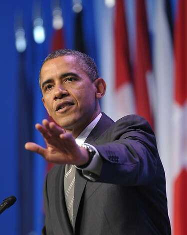 US President Barack Obama speaks during a press conference at the conclusion of the 2012 NATO Summit May 21, 2012 in Chicago.     AFP PHOTO/Mandel NGANMANDEL NGAN/AFP/GettyImages Photo: Mandel Ngan, AFP/Getty Images