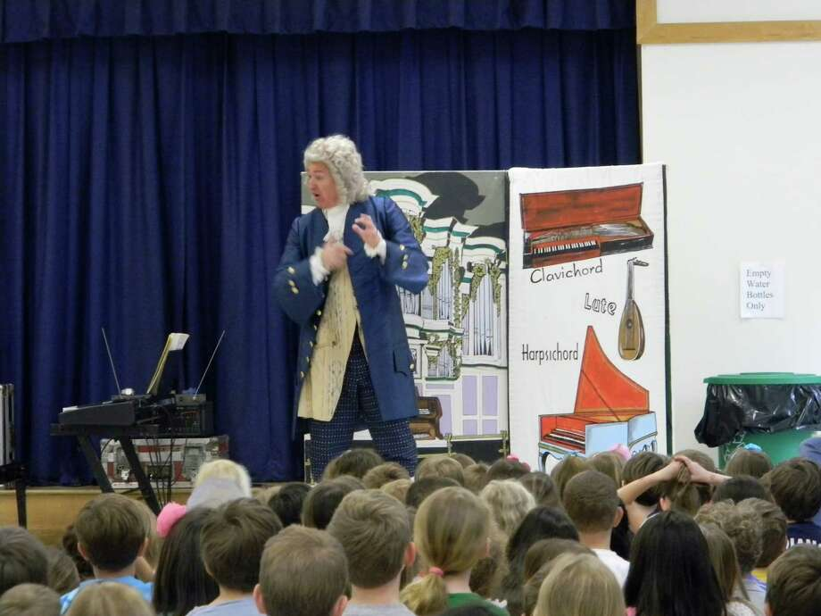 Dennis Kobray, a professional actor and musician who specializes in acquainting audiences with some of historyís greatest musicians, performed 14 shows as Johann Sebastian Bach for all of the students in the Darien Public Schools in Darien, Conn., recently. Photo: Contributed Photo