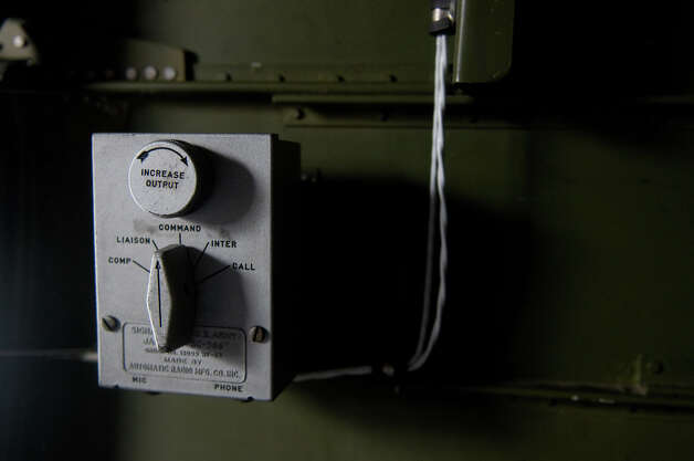 "A communications component of the B-17 ""Aluminum Overcast"" is shown during a flight on Monday, May 22, 2012. The WWII-era B-17 ""Flying Fortress"" bomber is one of only a dozen remaining airworthy aircraft. From May 24th thru the 27th, EAA and the Museum of Flight will offer ground tours and ""mission"" flights for a fee. Photo: LINDSEY WASSON / SEATTLEPI.COM"