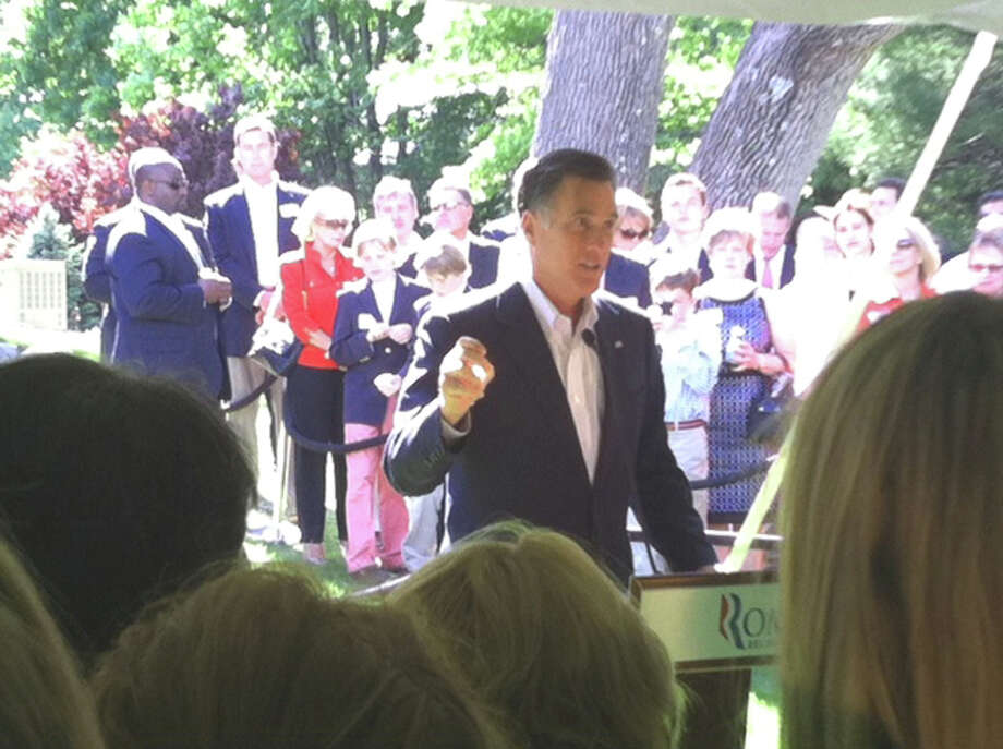 Presidential hopeful Mitt Romney addresses the group gathered at a private fundraiser at the home of the Neelemans in New Canaan, Conn. Sunday, May 20, 2012. Photo: Contributed Photo